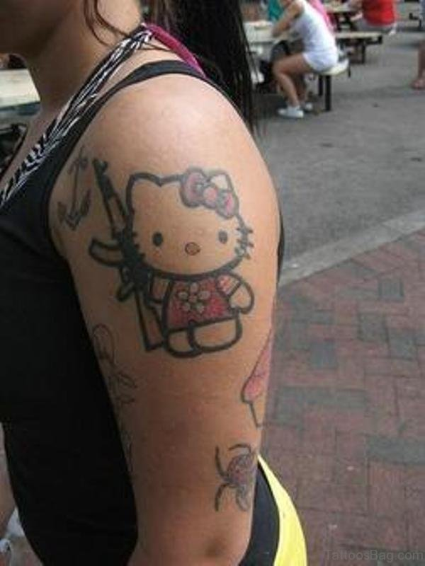 Red Kitty Tattoo On Left Shoulder