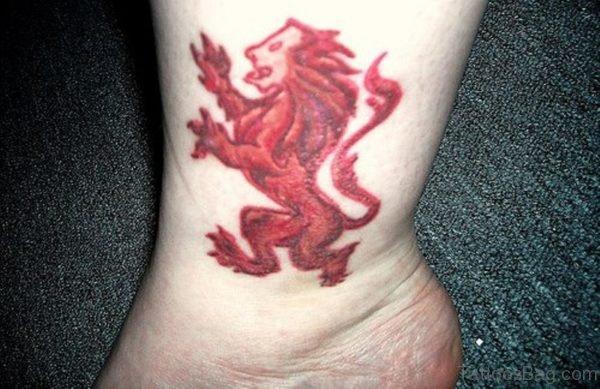 Red Lion Tattoo On Leg