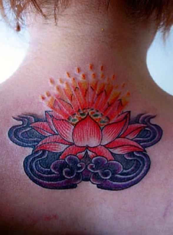 Red Lotus Tattoo On Nape