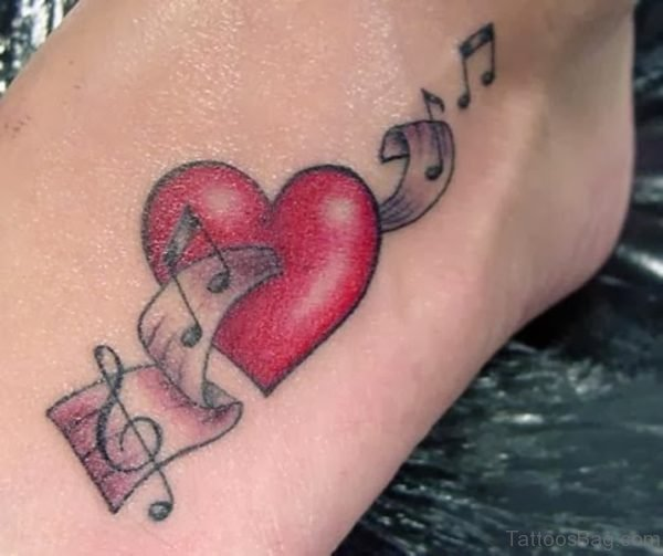 Red Music Heart Tattoo