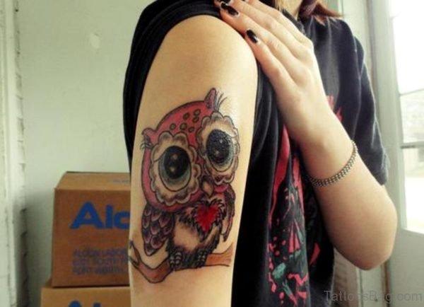 Red Owl Tattoo On Shoulder