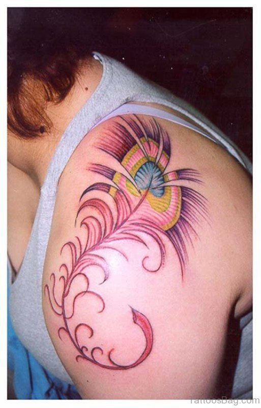 Red Peacock Feather Tattoo On Shoulder