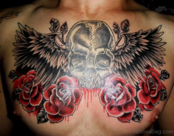 Red Rose And Skull Tattoo On Chest
