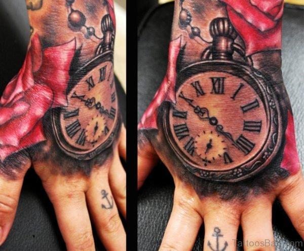 Red Rose Clock Tattoo