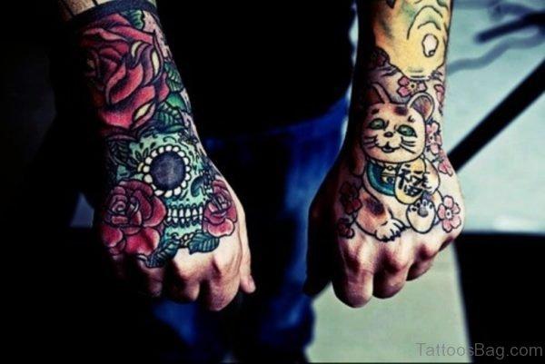 Red Rose Skull Tattoo