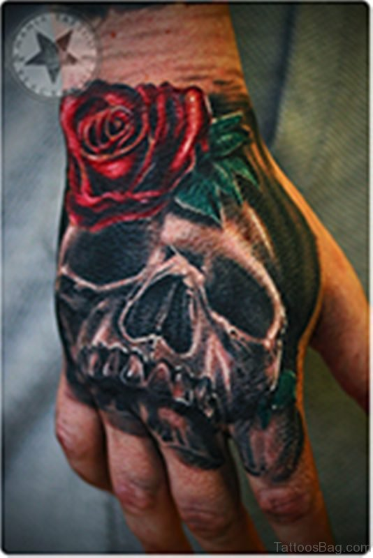 Red Rose Skull Tattoo On Hand