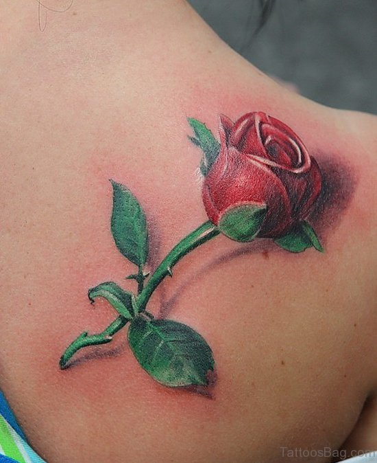 Red Rose Tattoo On Back
