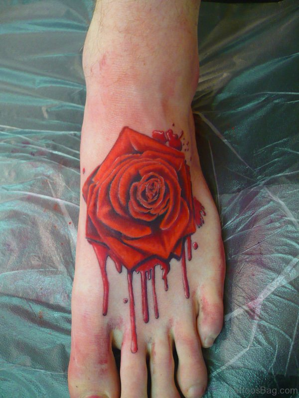 Red Rose Tattoo On Foot