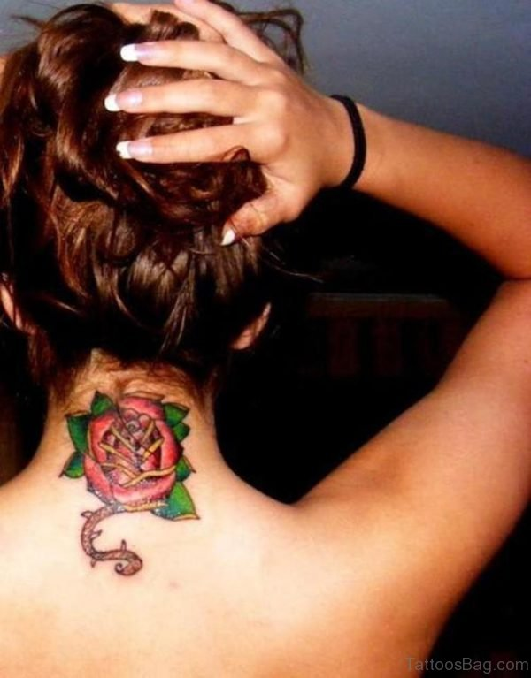 Red Rose Tattoo On Nape