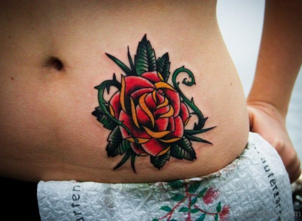 Red Rose Tattoo On Stomach