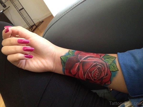 Red Rose Tattoo On Wrist