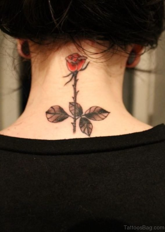 Red Rose With Leave Tattoo On Girl Nape