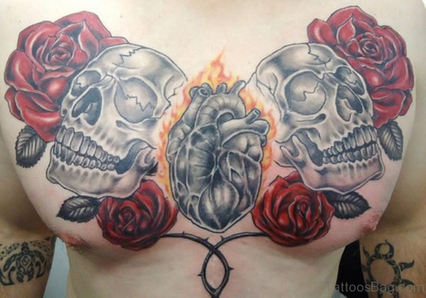 Red Rose With Skull Tattoo
