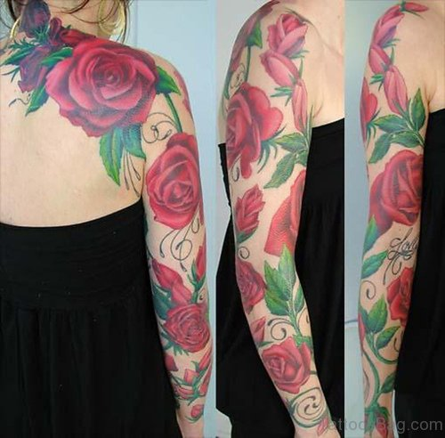 Red Roses Tattoos Design On Arms