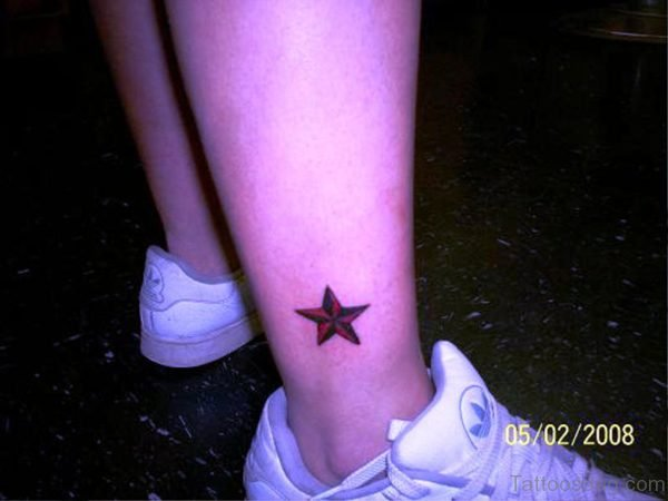 Red Star Tattoo On Ankle 1