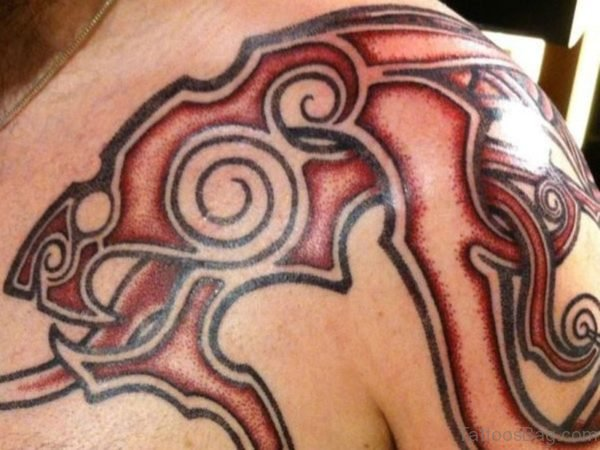 Red Tribal Nordic Tattoo