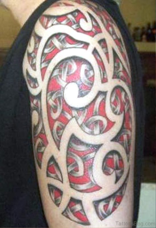 Red Tribal Tattoo On Shoulder