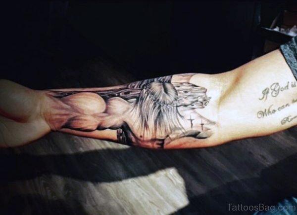 Religious Cross Tattoo On Wrist