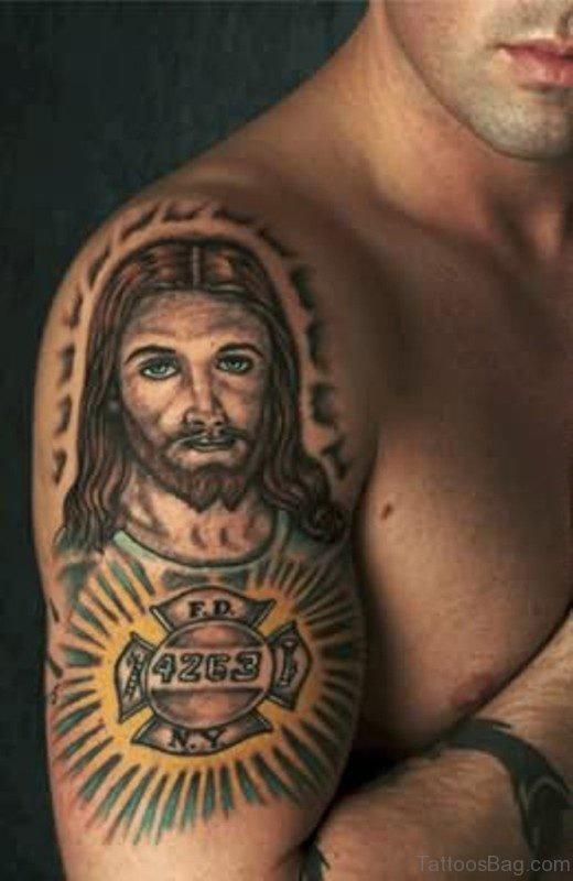Religious Jesus Tattoo On Shoulder