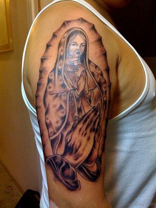 Religious Marry Tattoo On Shoulder