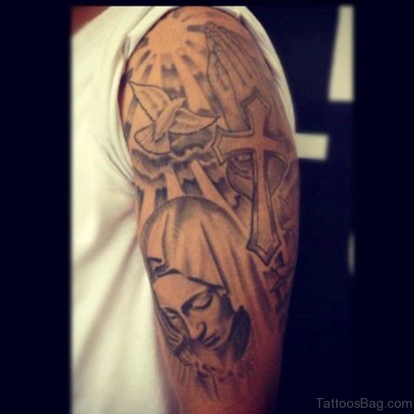 Religious Tattoo On Shoulder 1