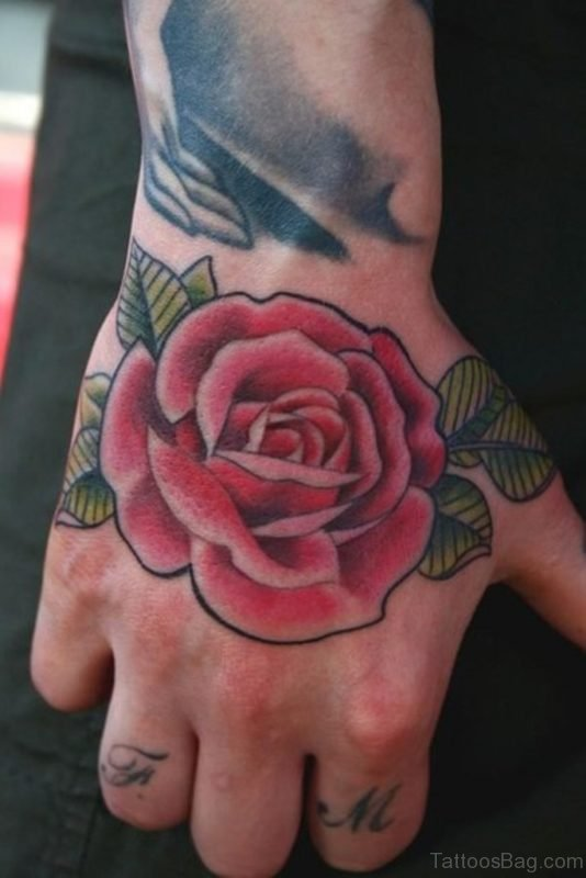 Right Hand Red Rose Tattoo
