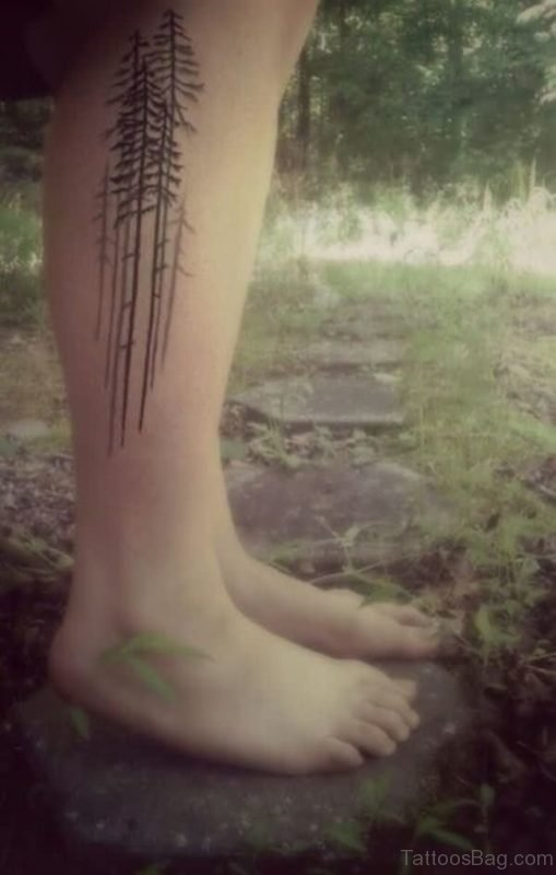 Right Leg Tree Tattoo