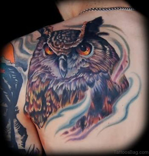 Ripped Skin Owl Tattoo On Shoulder