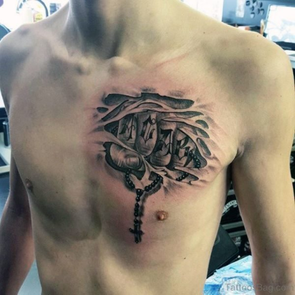Ripped Skin Rosary Tattoos On Chest For Men