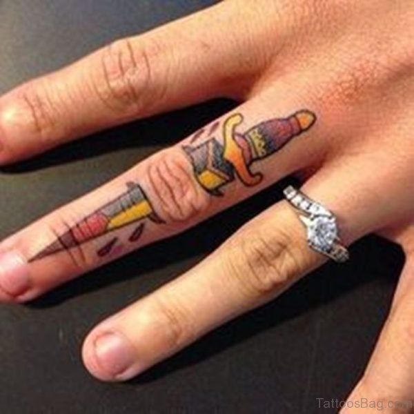 Ripped Skin Sword Tattoo On Finger