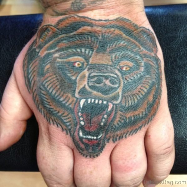 Roaring Bear Tattoo For Hand