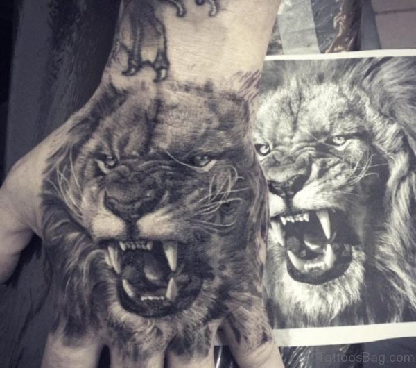 Roaring Lion Tattoo On Hand