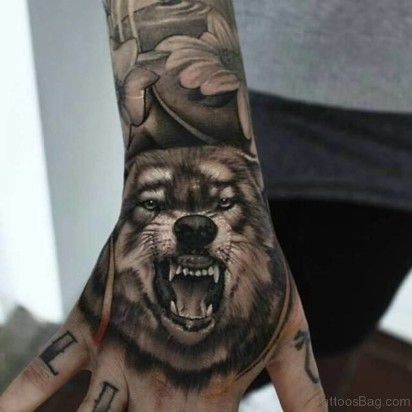 Roaring Wolf Tattoo On Hand