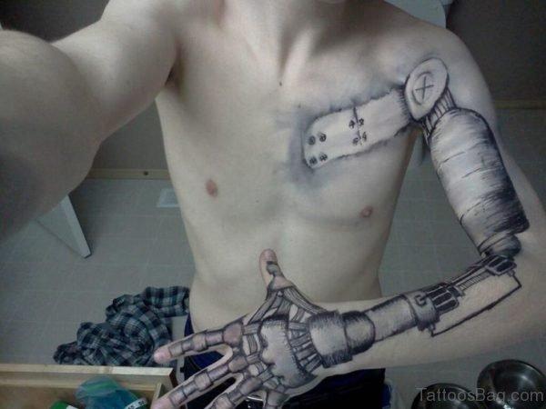 Robot Tattoo On Full Sleeve