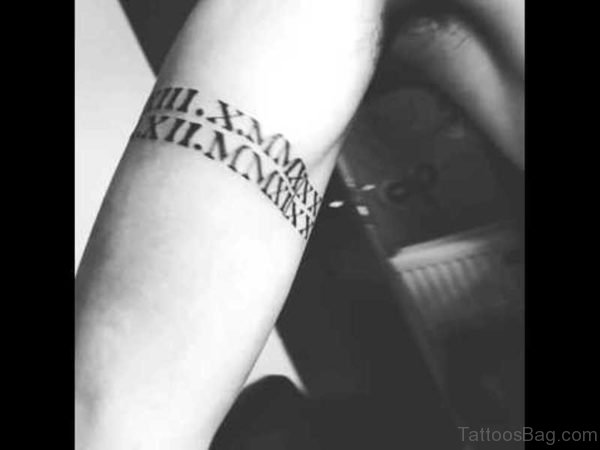 Roman Numeral Band Tattoo On Arm