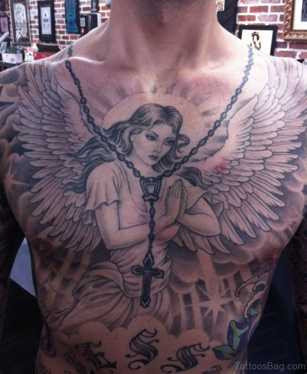 Rosary And Praying Angel Girl Tattoo On Chest