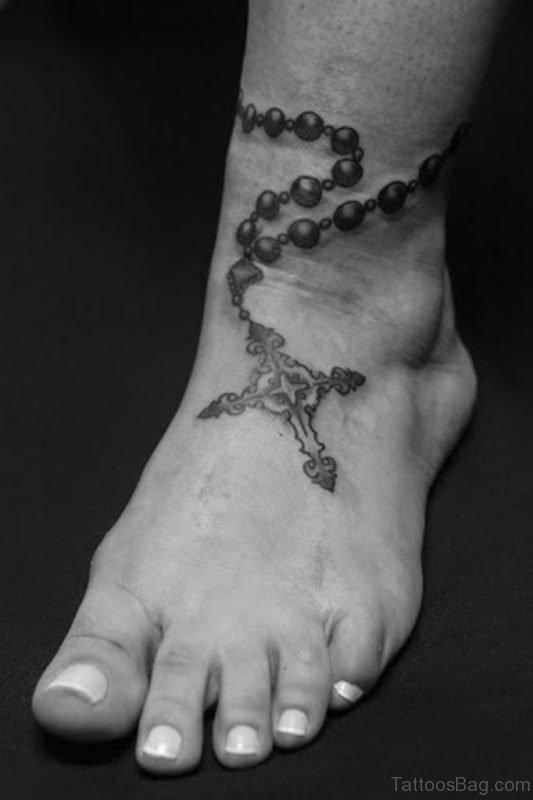 Rosary Cross Tattoo On Foot