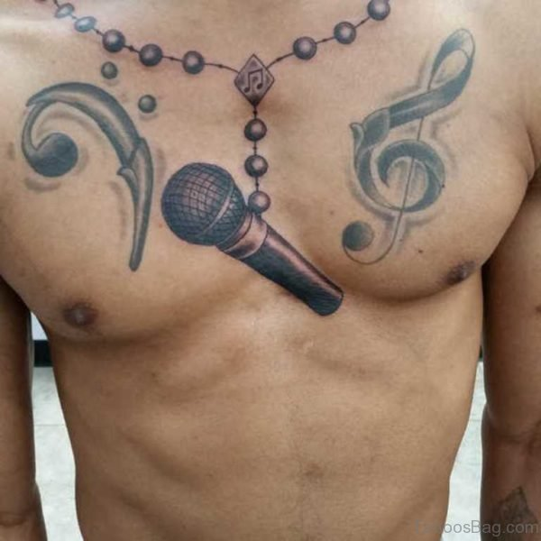 Rosary Tattoo On Chest Image