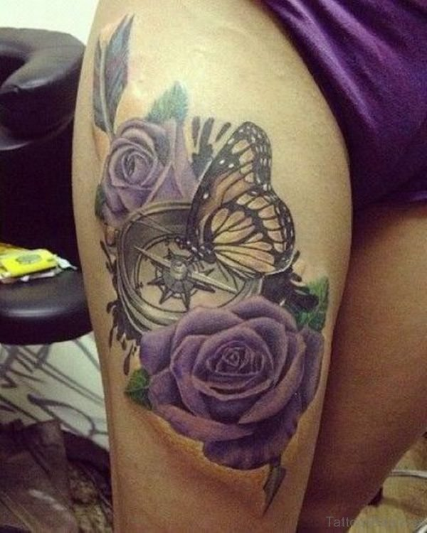 Rose And Butterfly Tattoo On Thigh