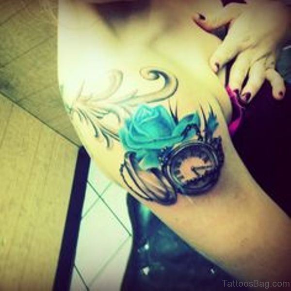 Rose And Clock Tattoo On Shoulder