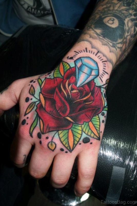 Rose And Diamond Tattoo