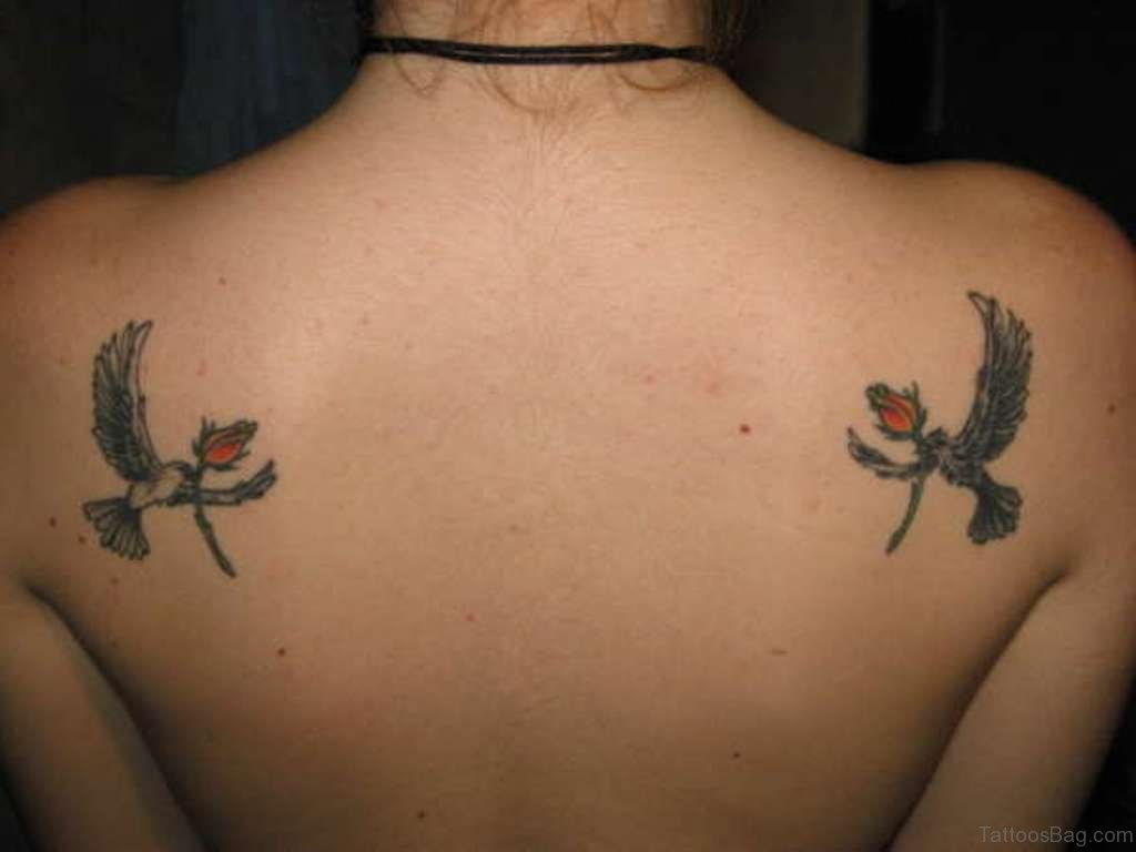 70 admirable dove tattoos for back for Dove and rose tattoo