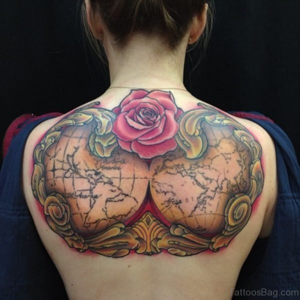 Rose And Map Tattoo