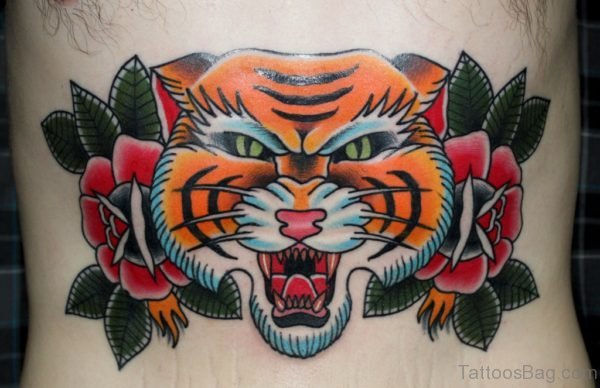 Rose And Tiger Tattoo