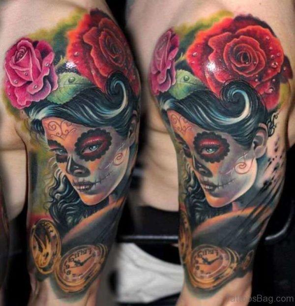 Rose And Venetian Mask Tattoo