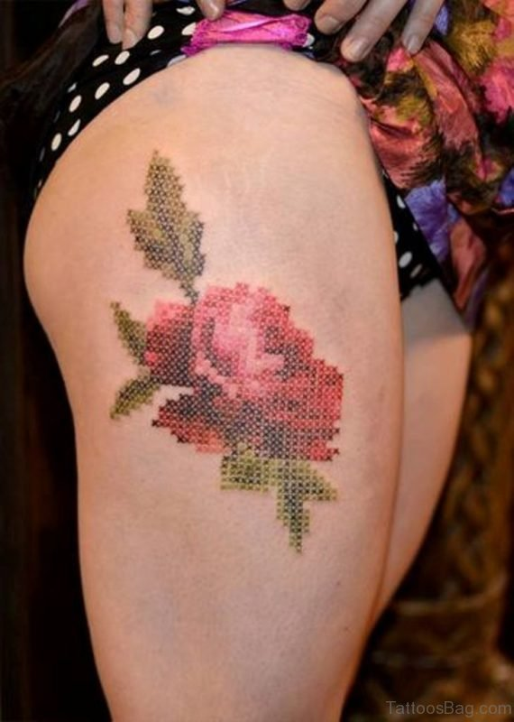 Rose Cross Stitch Tattoo Design On Thigh