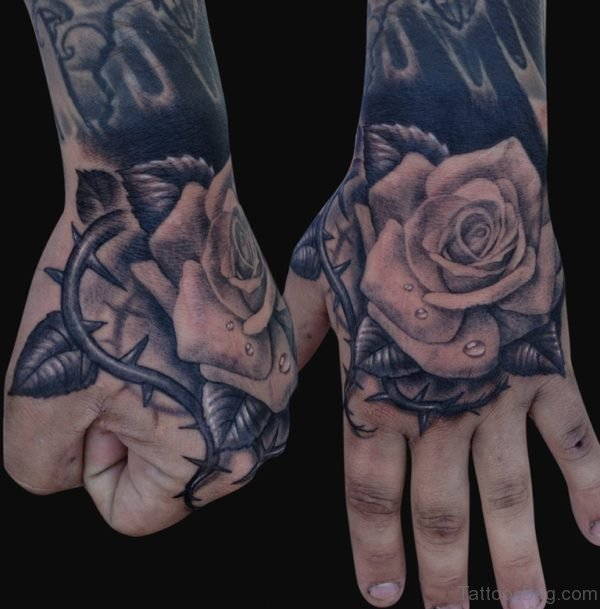 Rose Flower Tattoo Design On Hand