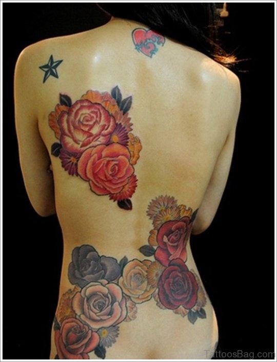 Rose Flower Tattoo On BAck TD128