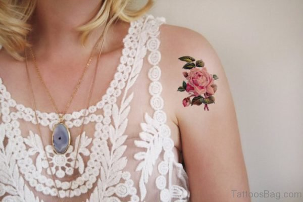 Rose Flower Tattoo On Shoulder