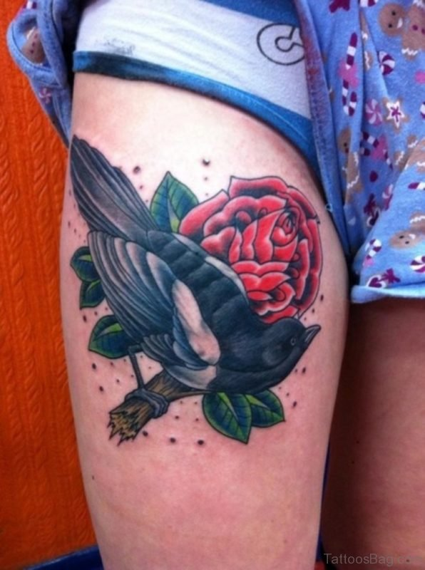 Rose Flower Tattoo On Thigh